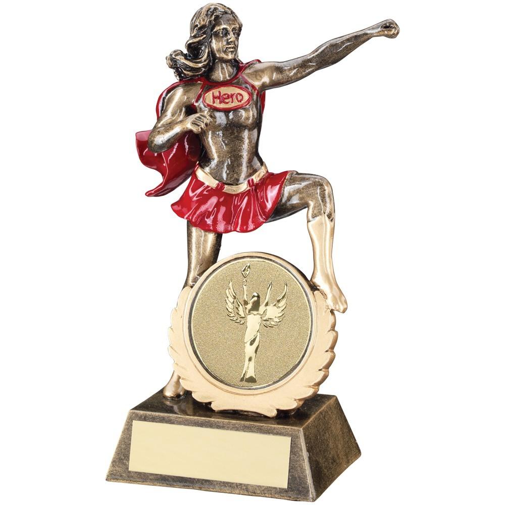 19cm Bronze & Gold & Red Generic Female 'Hero' Trophy - 7.5In