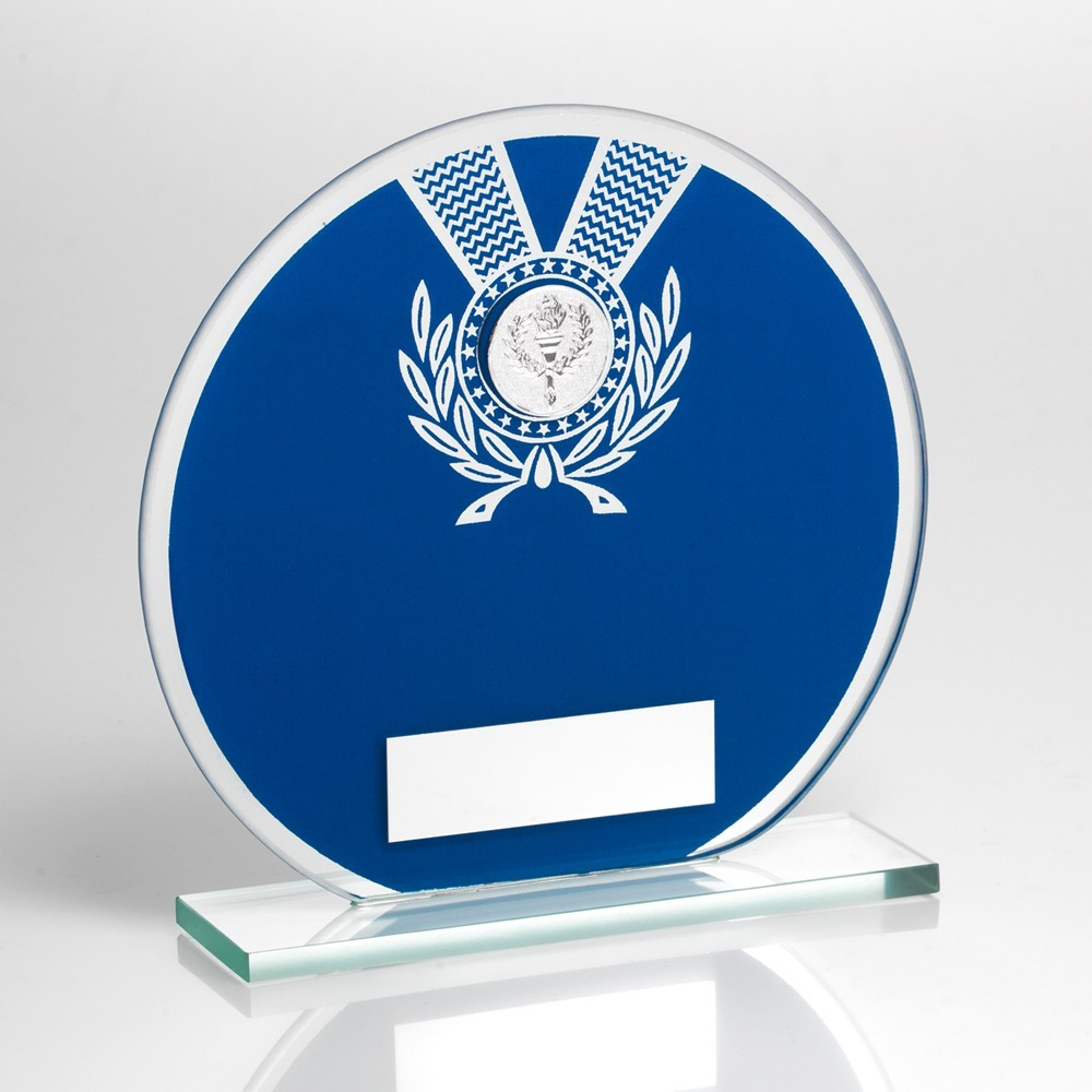 Jade Glass Round Plaque Blue/Silv  With  Wreath Trophy
