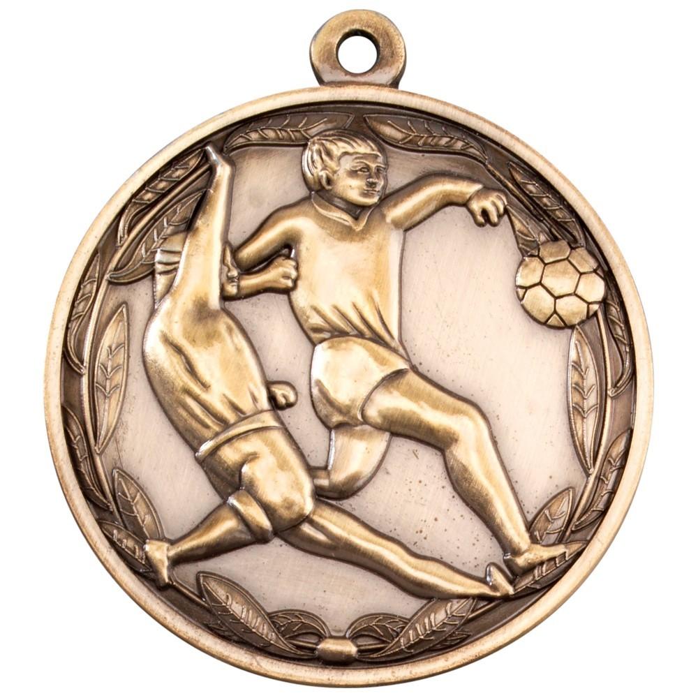 5cm Double Footballer Medal - Antique Gold