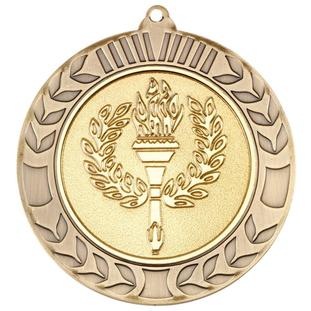 7cm Wreath Medal - Antique Gold 2.75In