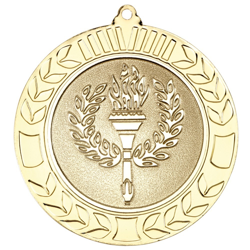 7cm Wreath Medal - Gold 2.75In