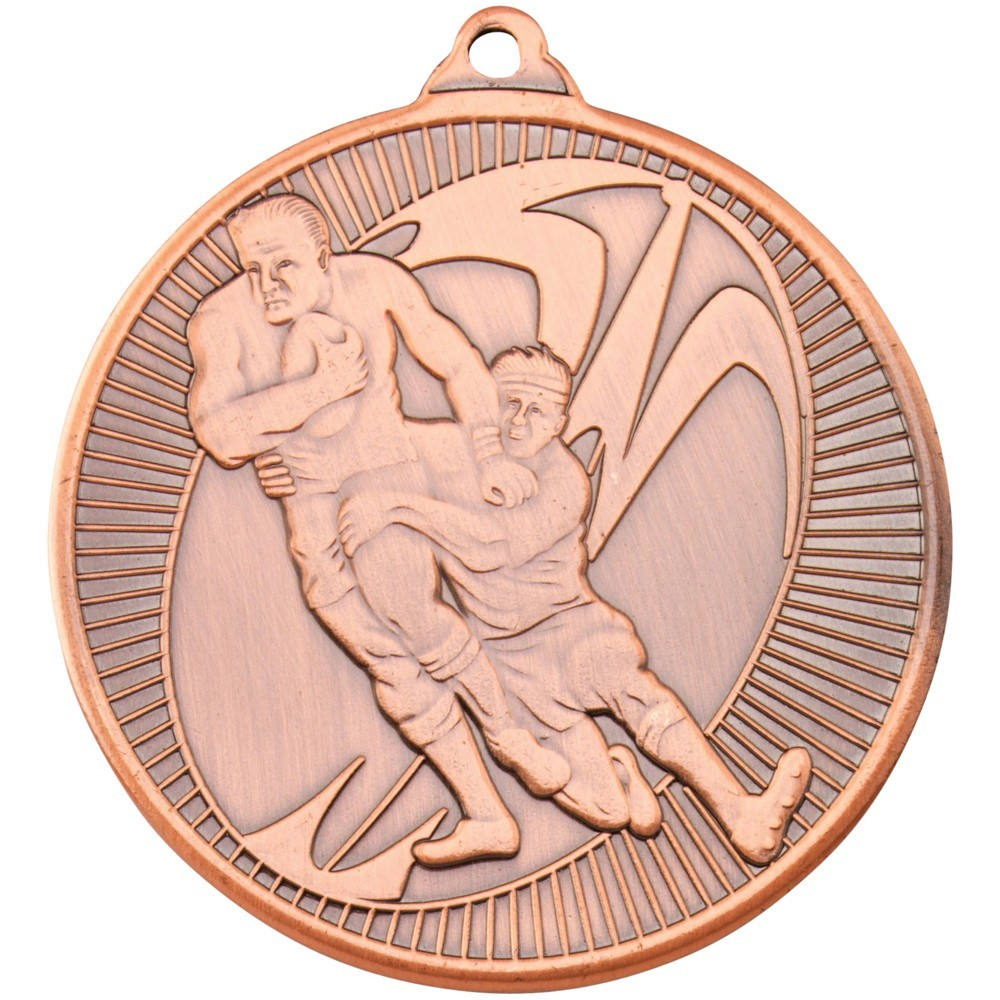 5cm Rugby 'Multi Line' Medal - Bronze