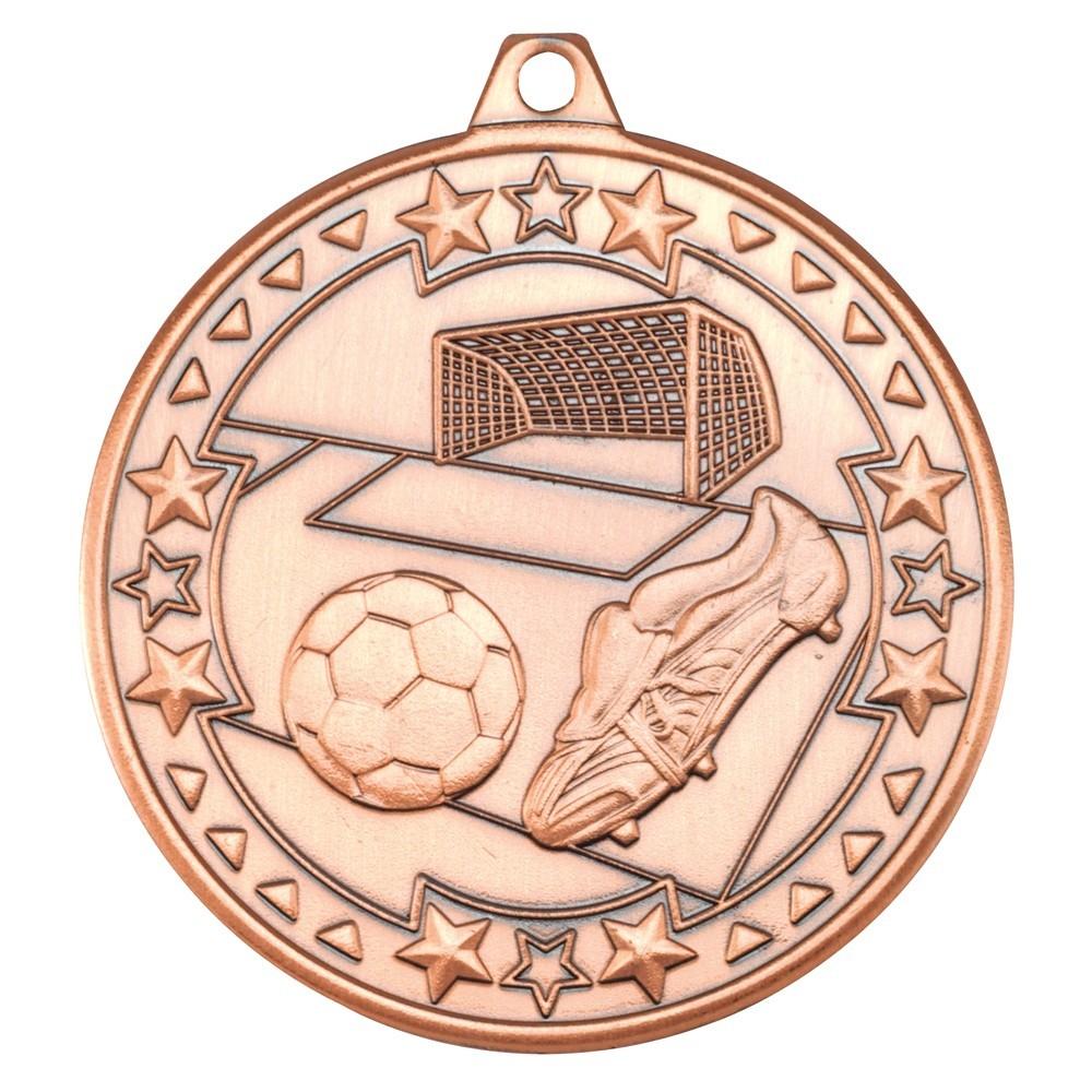 5cm Football 'Tri Star' Medal - Bronze
