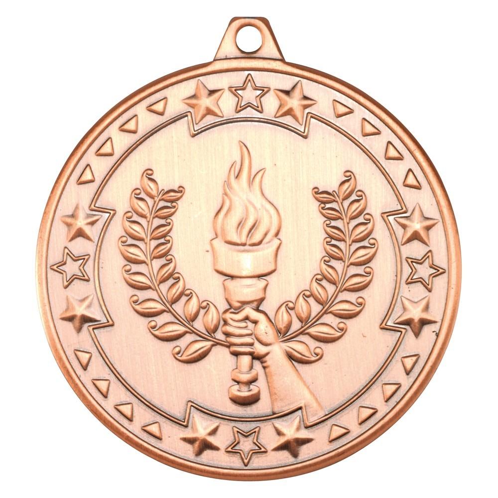 5cm Victory Torch 'Tri Star' Medal - Bronze