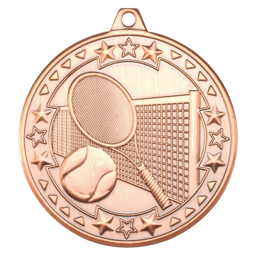 5cm Tennis 'Tri Star' Medal - Bronze