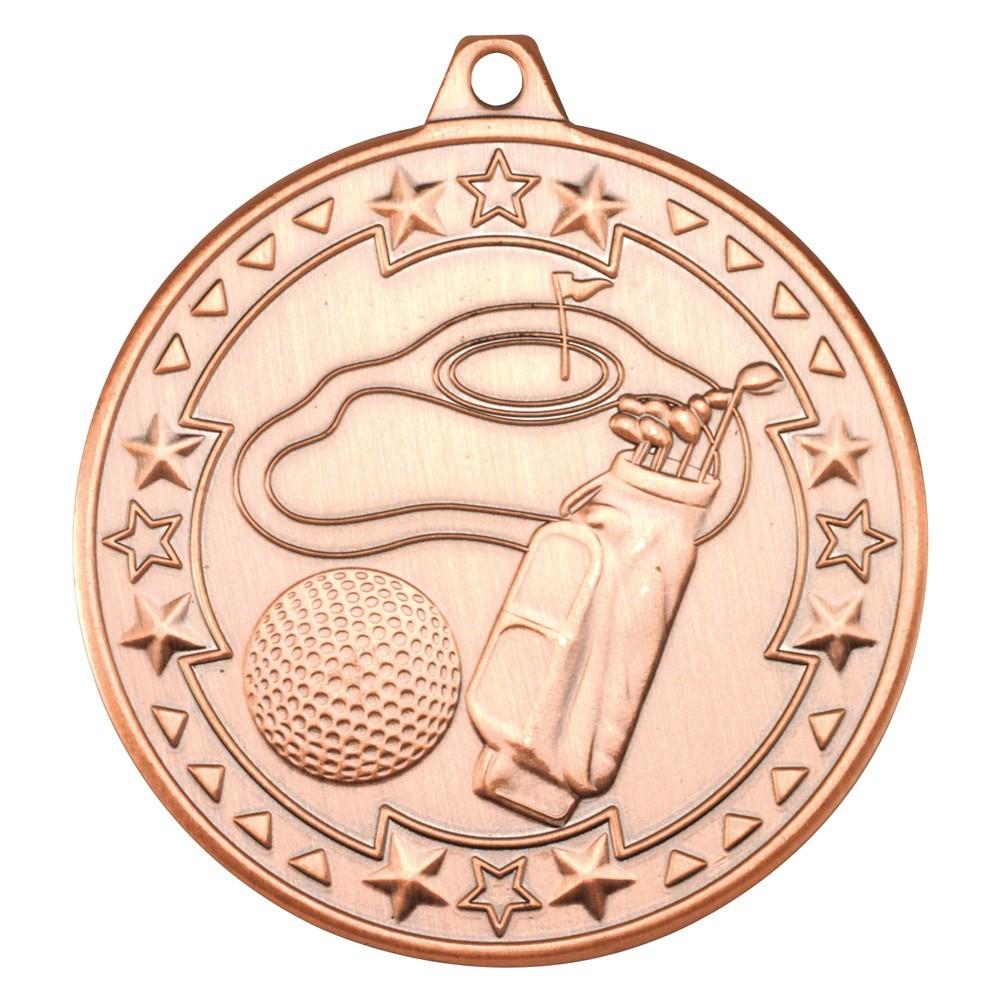 5cm Golf 'Tri Star' Medal - Bronze