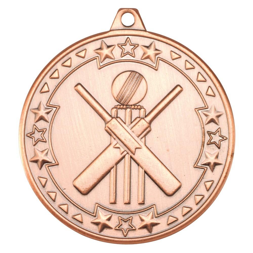 5cm Cricket 'Tri Star' Medal - Bronze