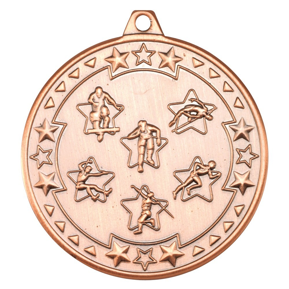 5cm Multi Athletics 'Tri Star' Medal - Bronze