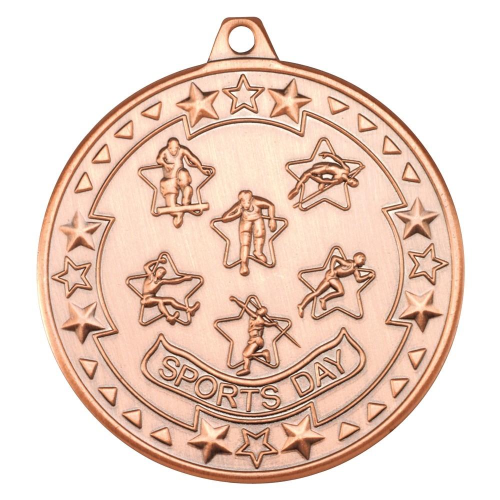 5cm Sports Day 'Tri Star' Medal - Bronze
