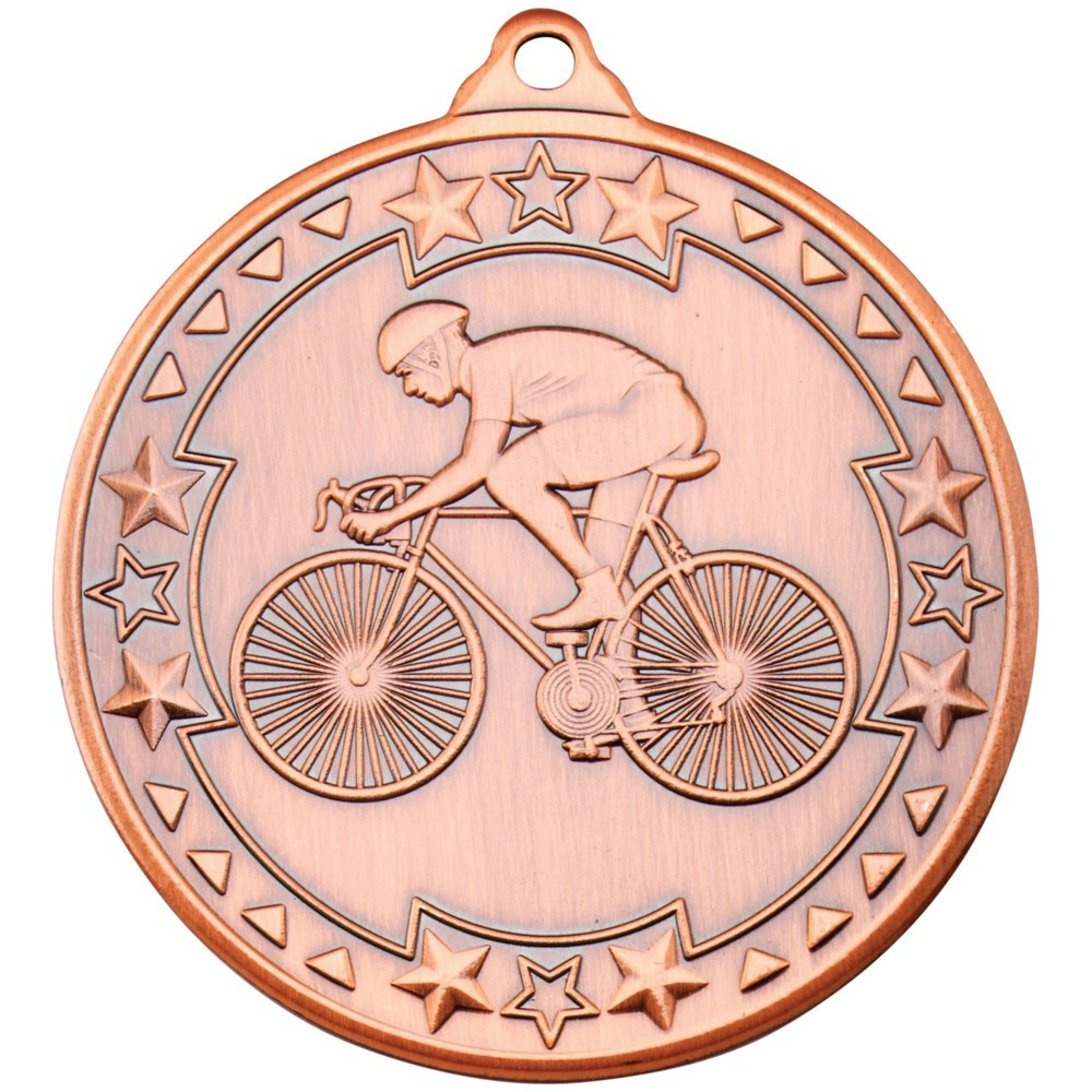 5cm Cycling 'Tri Star' Medal - Bronze