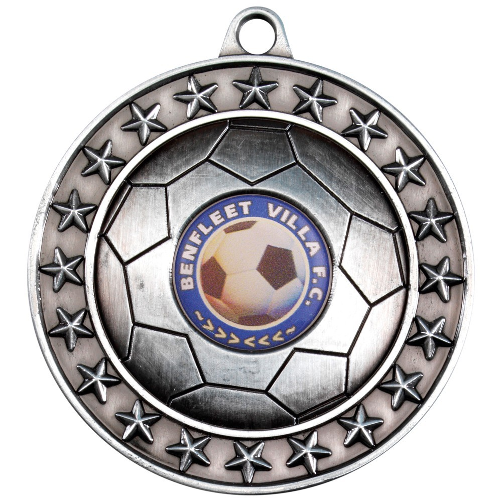 7cm Football Medal - Antique Gold 2.75In