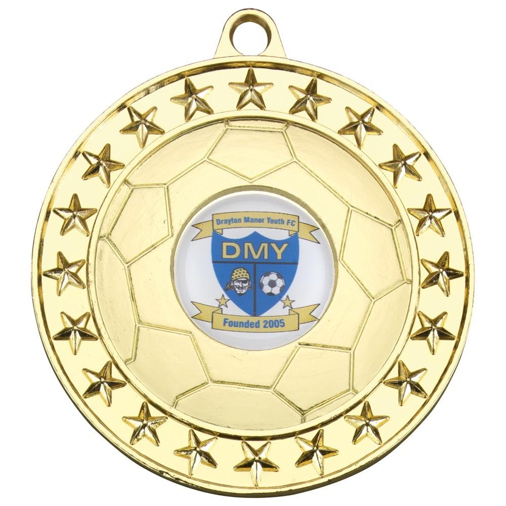 7cm Football Medal - Gold 2.75In