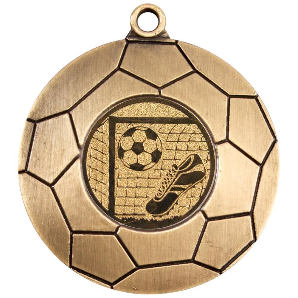 5cm Domed Football Medal - Antique Gold