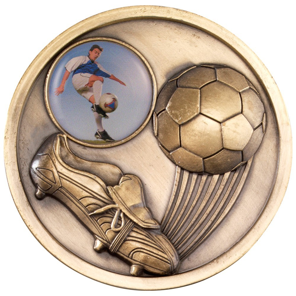 7cm Football+Boot Medallion - Antique Gold 2.75In