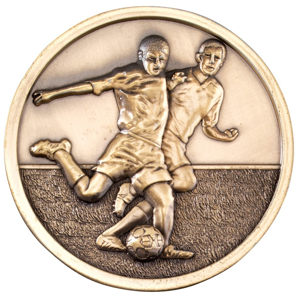 7cm Football Players Medallion - Antique Gold 2.75In