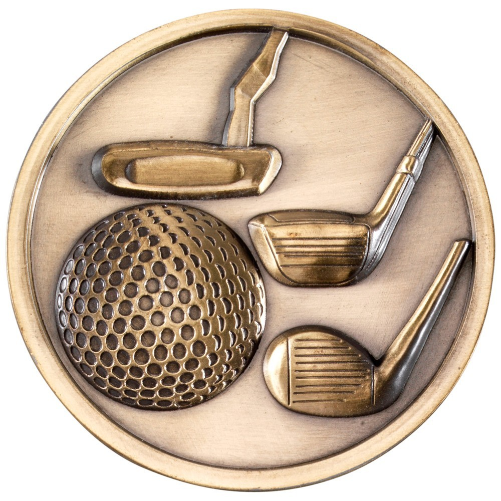 7cm Golf Clubs Medallion - Antique Gold 2.75In
