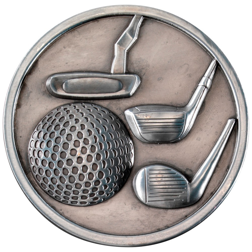 7cm Golf Clubs Medallion - Antique Silver 2.75In