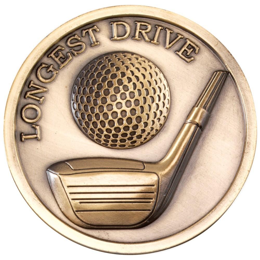 7cm Golf Medallion - Antique Gold Longest Drive 2.75In