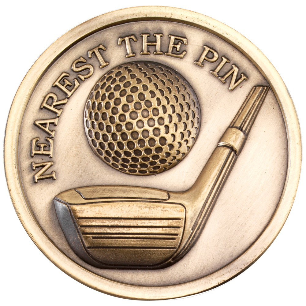 7cm Golf Medallion - Antique Gold Nearest The Pin 2.75In