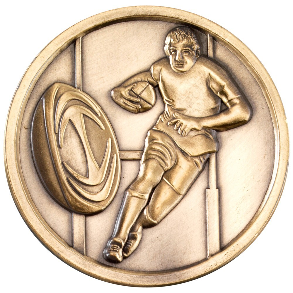 7cm Rugby Medallion - Antique Gold 2.75In