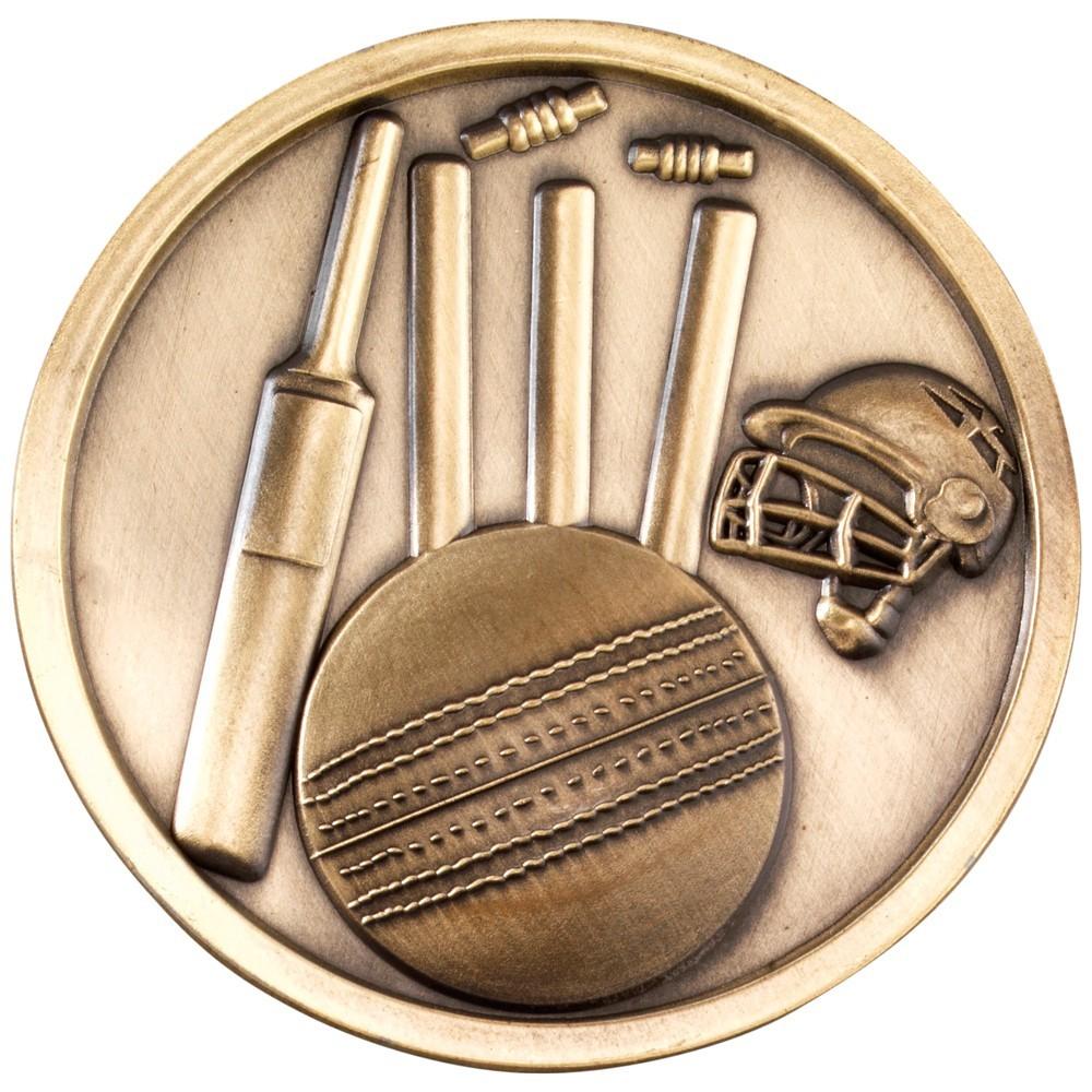 7cm Cricket Medallion - Antique Gold 2.75In