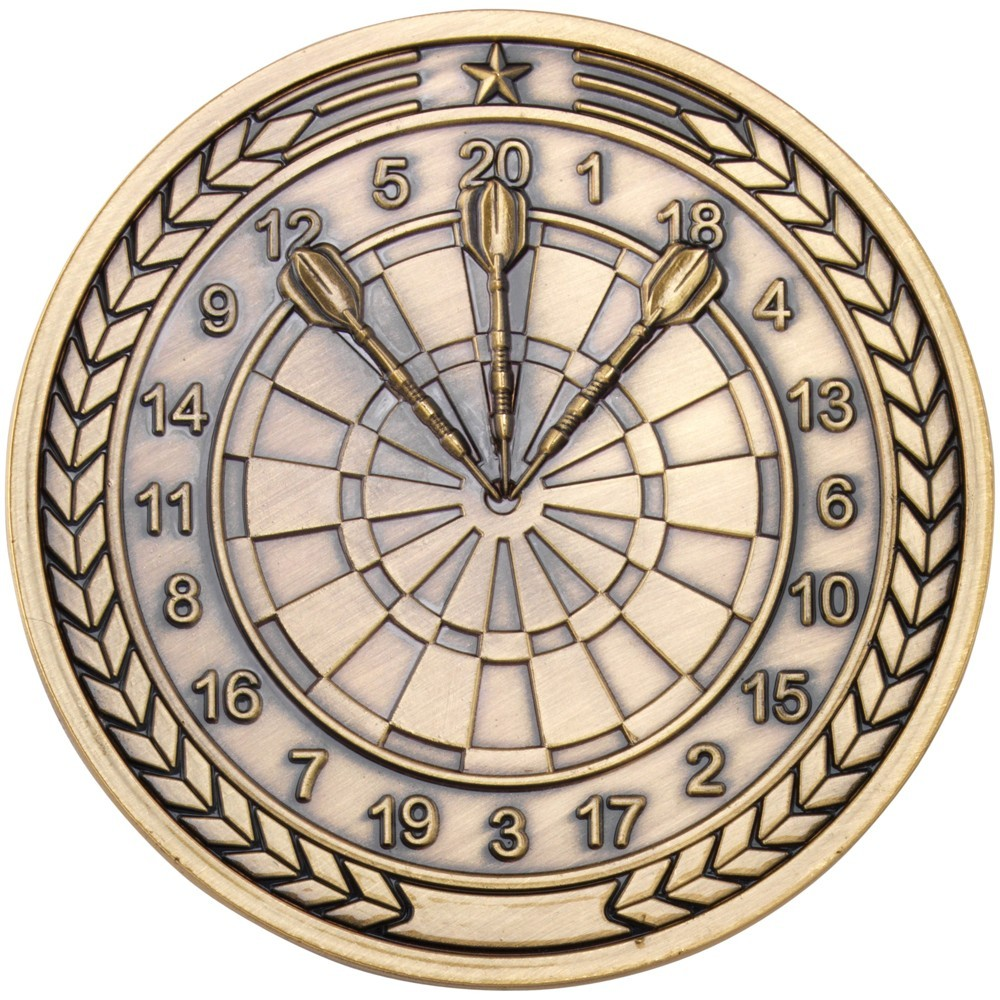 7cm Darts Medallion - Antique Gold 2.75In