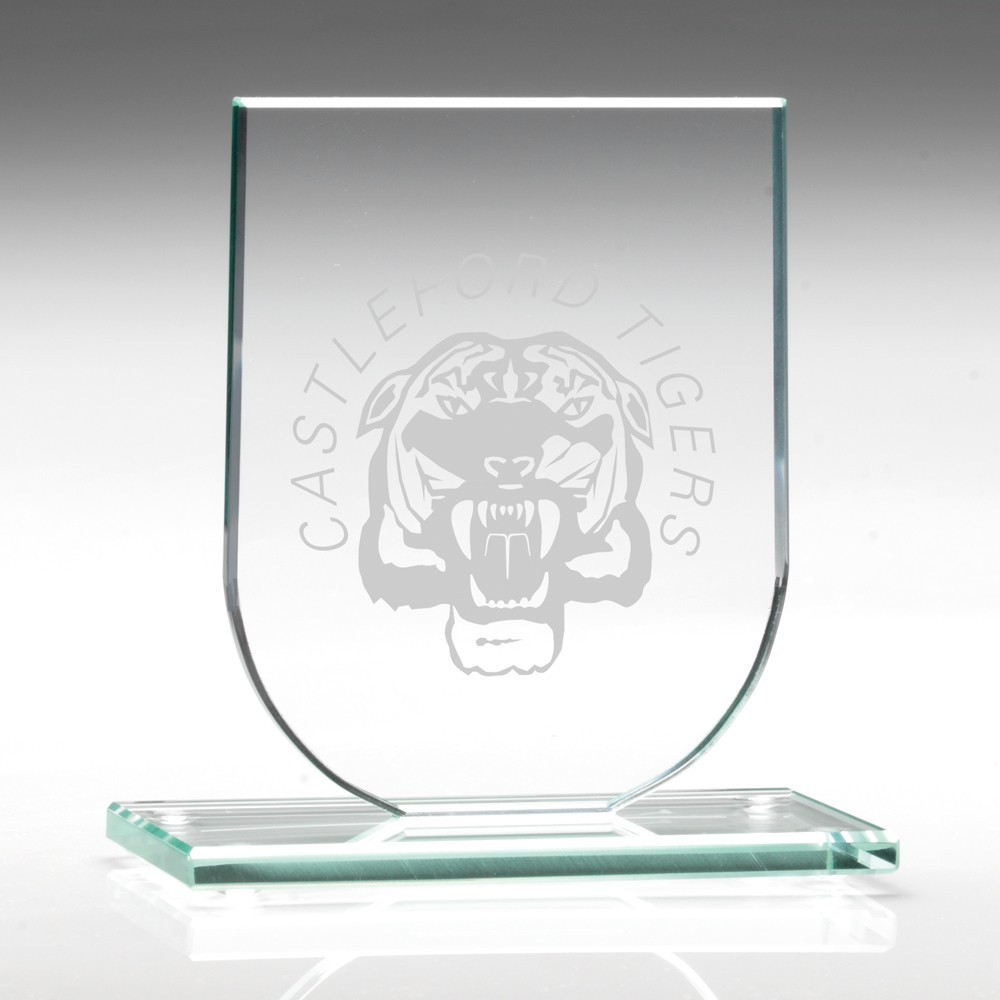 9.5cm Jade Glass Shield Plaque (6mm Thick)