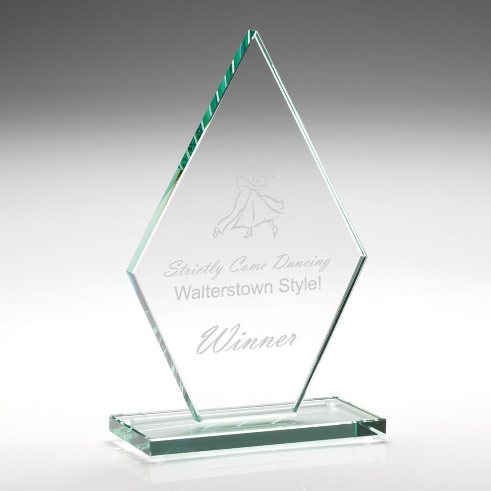 18cm Jade Glass Diamond Plaque (10mm Thick)