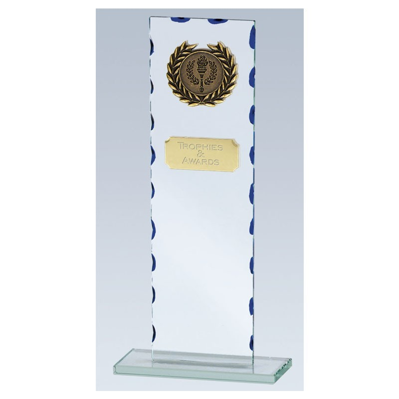 Virtue Glass Clear Award And Blue