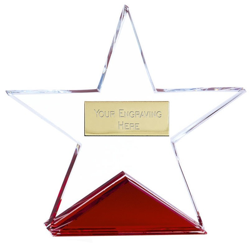 Fire Star Crystal Clear Award And Red