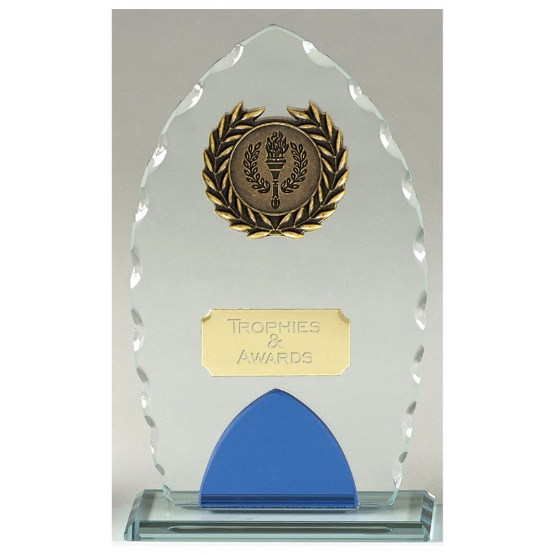 Noble Glass Clear Award And Blue