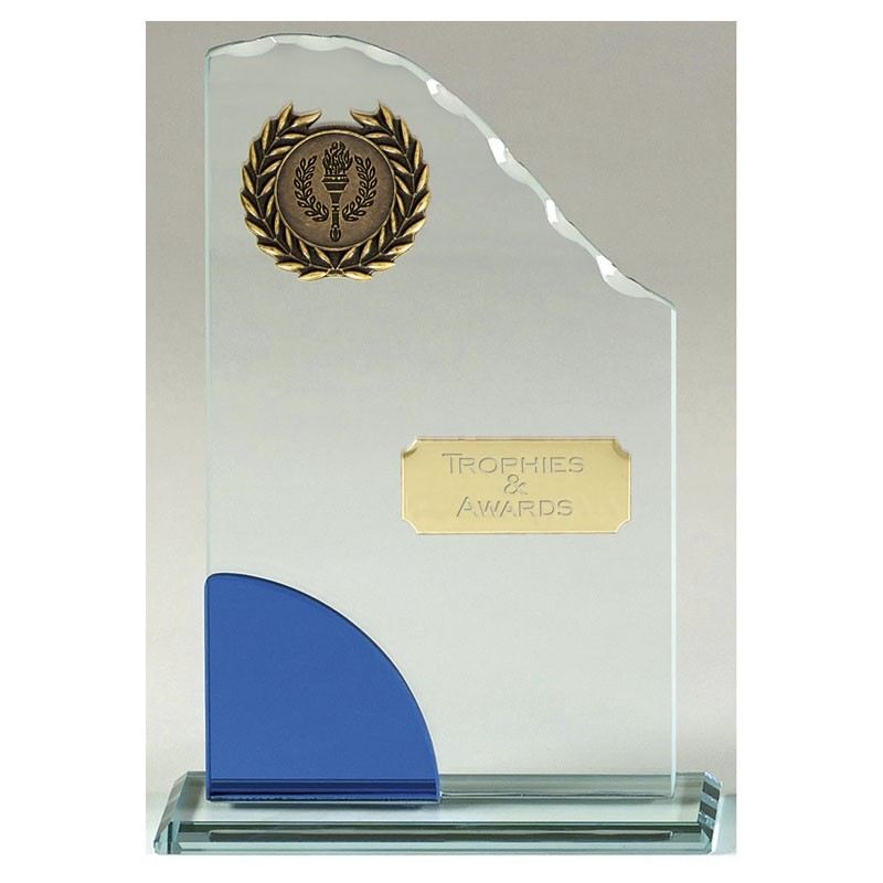 Prima Glass Clear Award And Blue