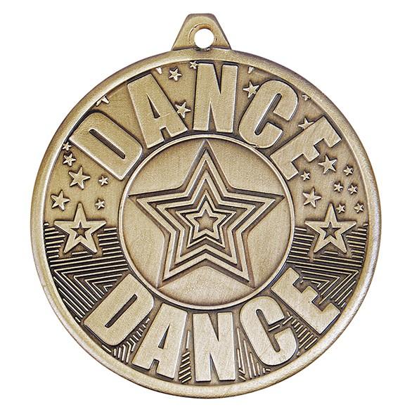 Cascade Dance Iron Medal Antique Gold 50mm