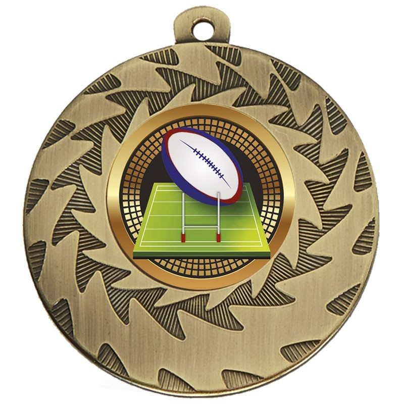 5cm Prism Rugby Medal