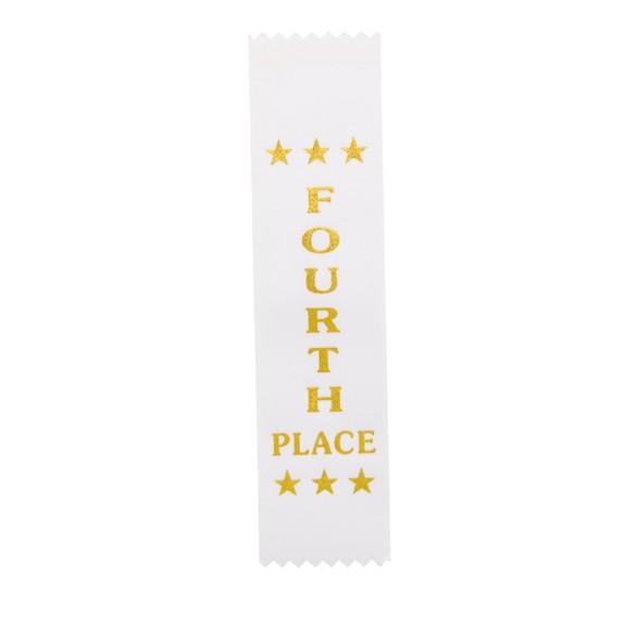 4th Place White Ribbon 200 x 50mm