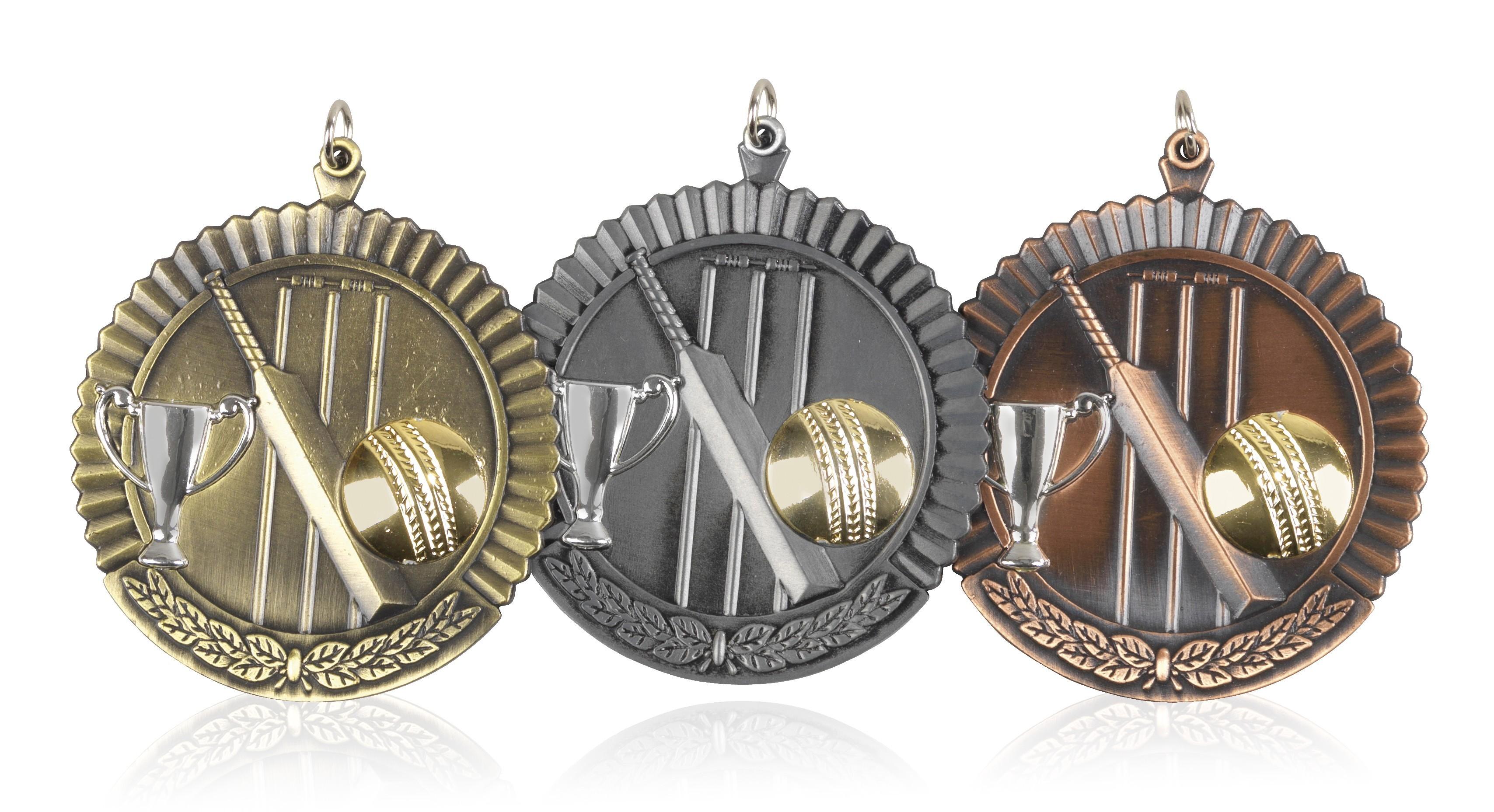 MB (P) 50mm Cricket Medal Antique Bronze