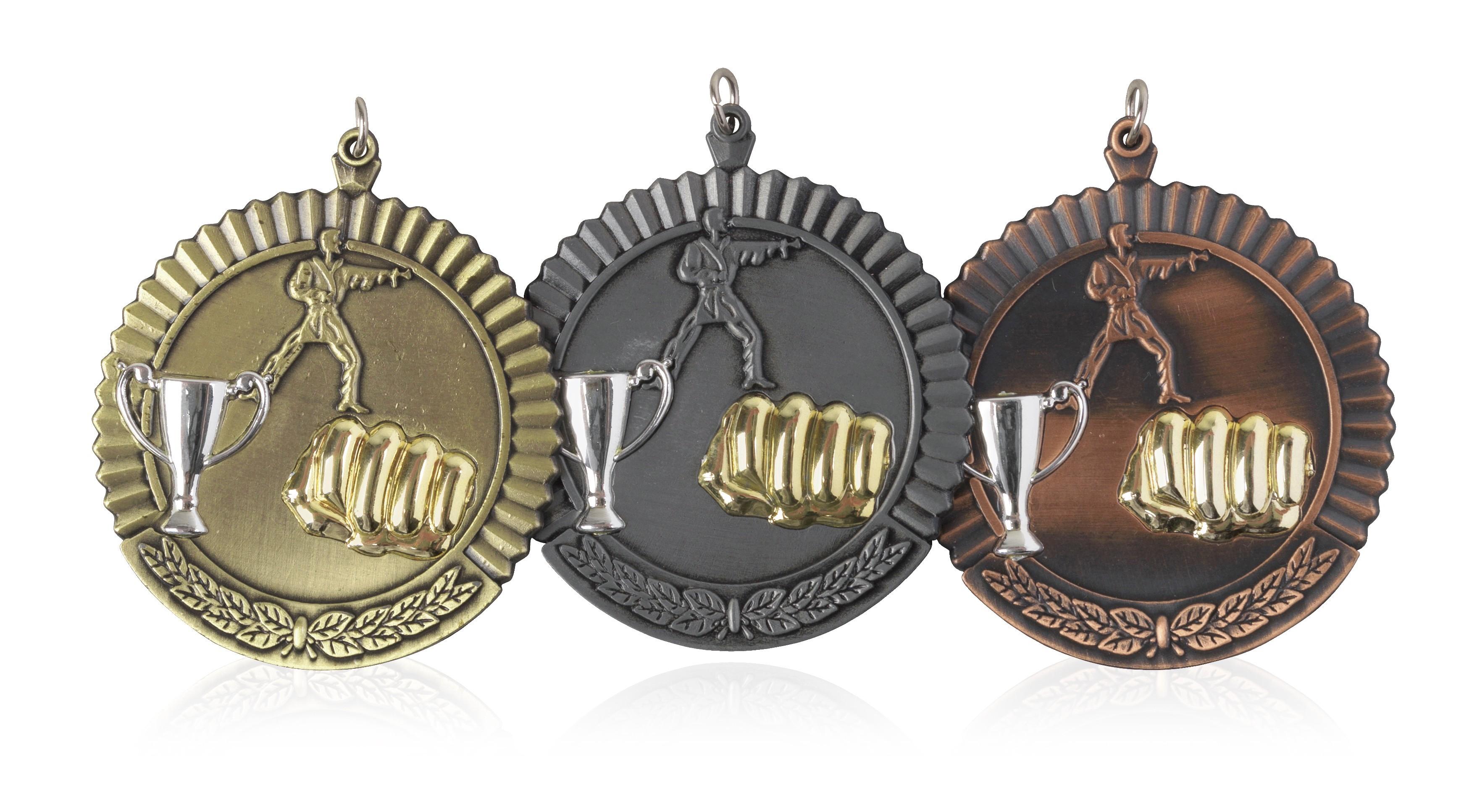 MB (P) 50mm Martial Arts Medal Antique Bronze