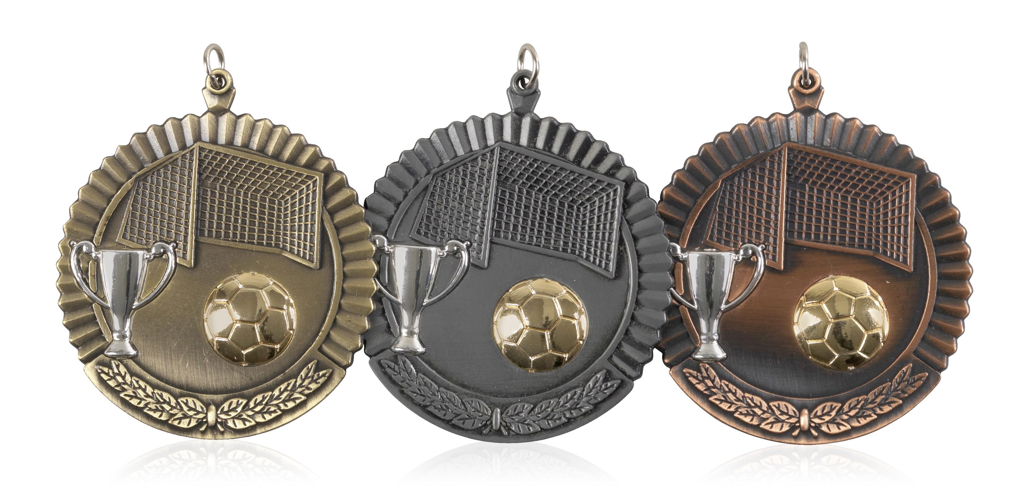 MB (P) 50mm Soccer Medal Antique Bronze