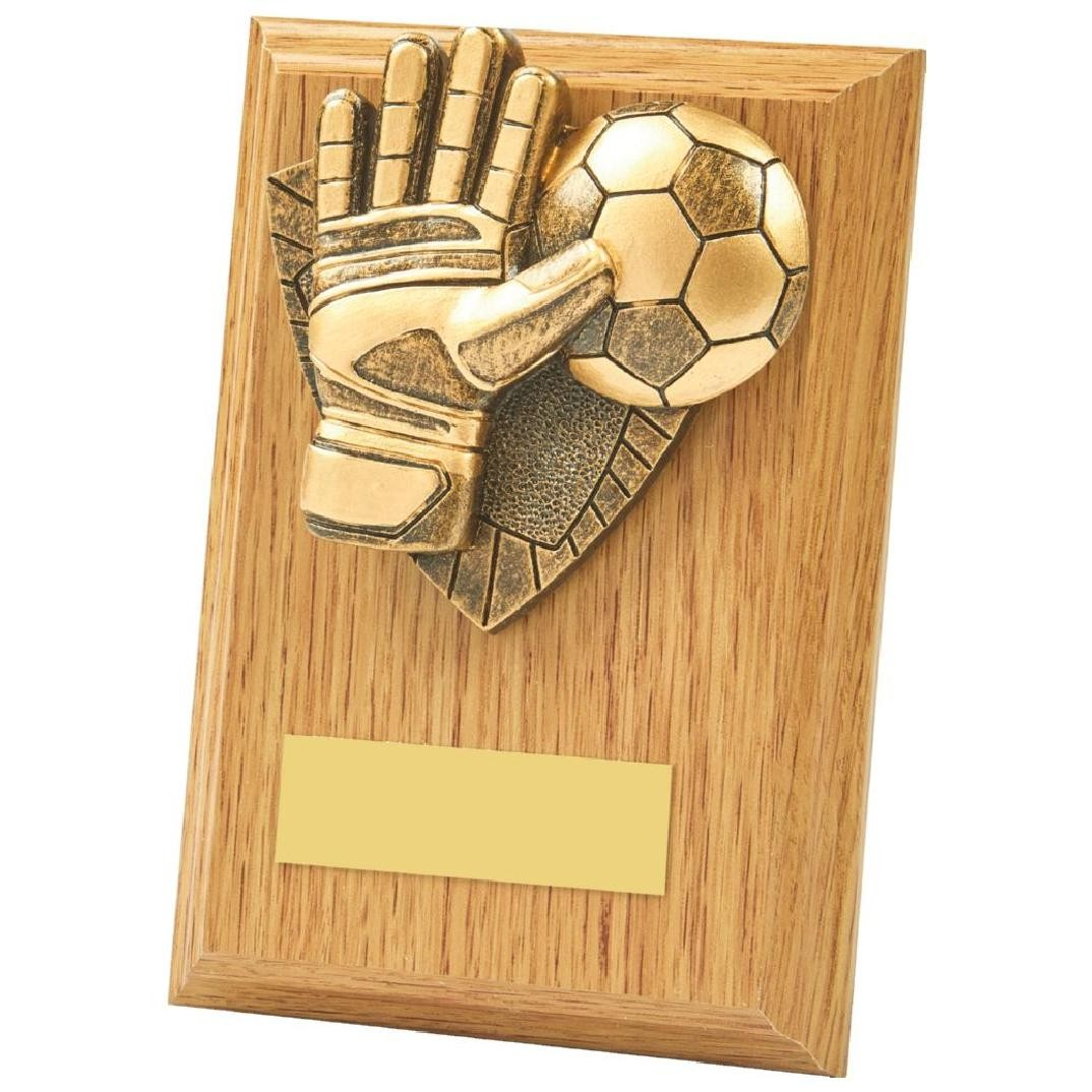 13cm Light Oak Football Goalie Wood Plaque Award