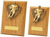 13cm Antique Gold Male Rugby Wood Plaque Award