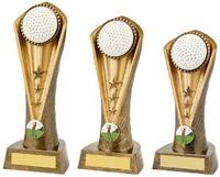 19cm Antique Gold Golf Ball Cobra Trophy