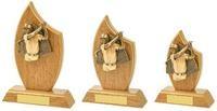 14cm Light Oak Male Golf Wood Plaque Award