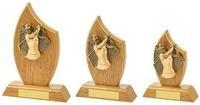 14cm Light Oak Female Golf Wood Plaque Award