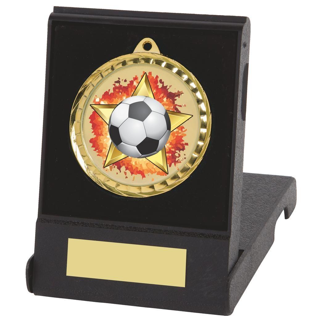 6cm Colour Print Football Gold Medal & Case - Jackson Trophies