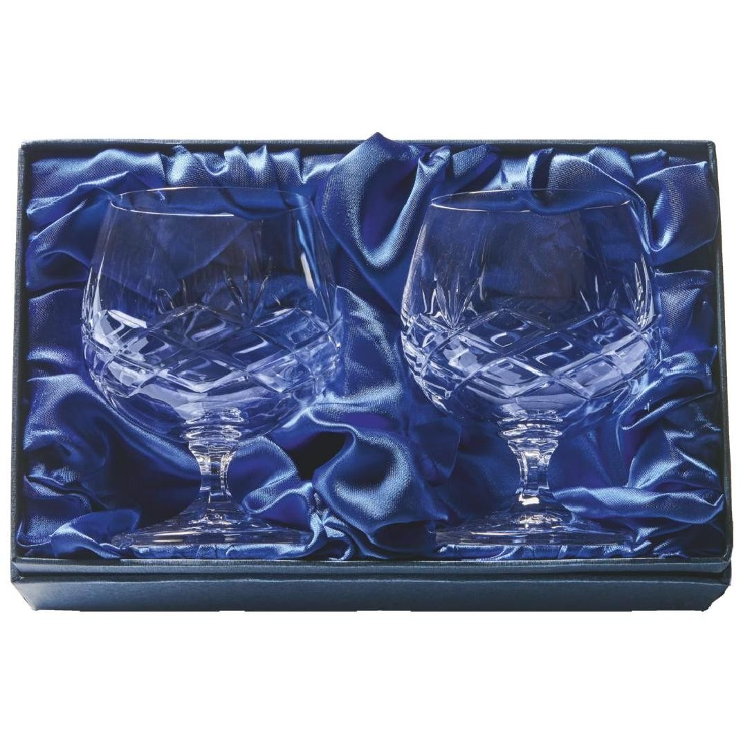 Two Crystal Brandy Balloons in Presentation Case