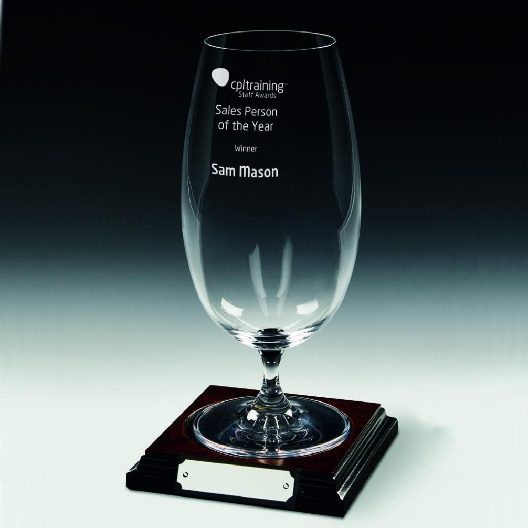 Beer Glass on Wood Base