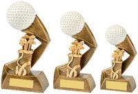 13.5cm Antique Gold/White Golf Ball Action Award