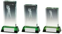 10cm Male Golf Jade Glass Block with Green Base