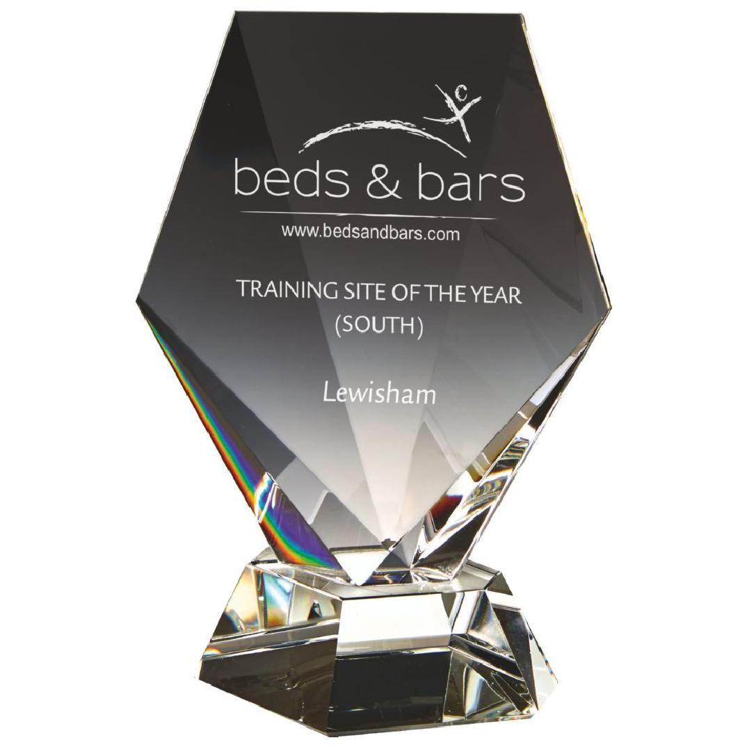 20.5cm Sloping Diamond Column award with Blue Base