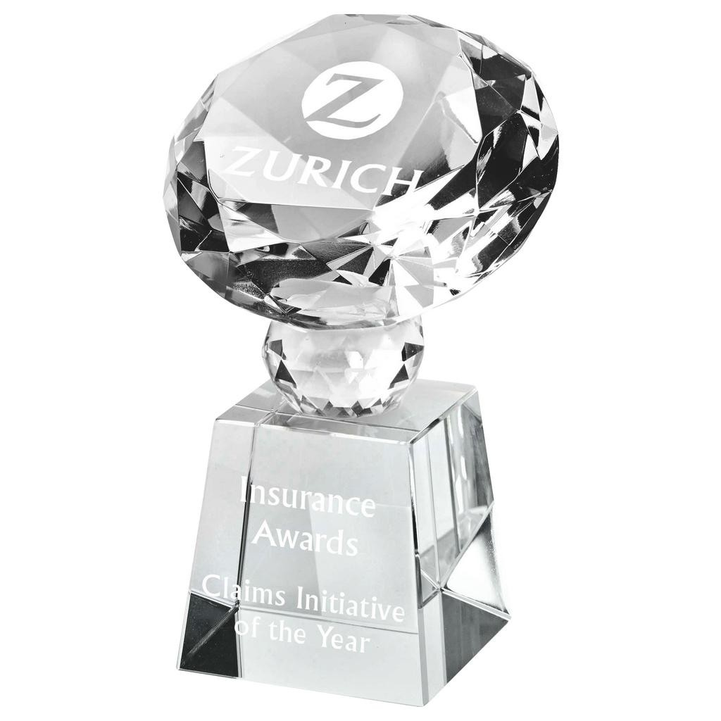 Crystal Diamond Trophy with Stand for Corporate Awards